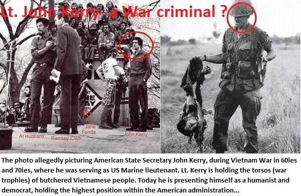 Lt John Kerry holding the torsos of buthchered Vietnamese people
