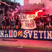 Croatian fans detained over vulgar anti-Serbian banner