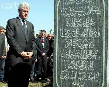Bill Clinton worships Al Qaeda terrorists in Srebrenica, Serbian Republic of Bosnia