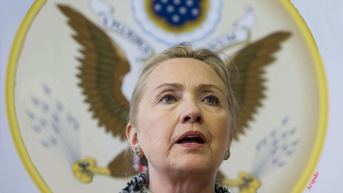 AgoraBeograd ObL51 HILARRY CLINTON WITH ARROWS SHOOTING  FROM HER WINGED EARS FOREIGN POLICY
